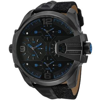 Diesel Men's DZ7393 'Uber Chief' 4 Time Zones Black Leather Watch