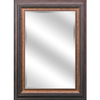 Y-Decor REFLECTION 24 x 36 x 1-inch Bevel Mirror with 5-inch Warm Brown and Bronze Finished Frame