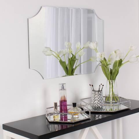 DesignOvation Reign Frameless Rectangle Scalloped Beveled Mirror - Silver - 19x28