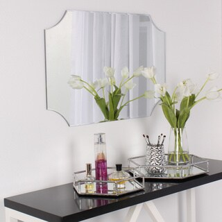 DesignOvation Reign Frameless Rectangle Scalloped Beveled Mirror - Silver