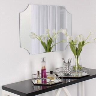 DesignOvation Reign Frameless Rectangle Scalloped Beveled Mirror