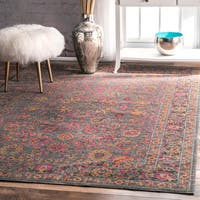 nuLOOM Traditional Lily Floral Grey Rug - 8' x 10'