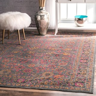 nuLOOM Traditional Lily Floral Grey Rug (5' x 7'5)