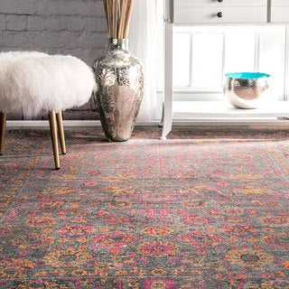 nuLOOM Traditional Lily Floral Grey Rug (4' x 6')