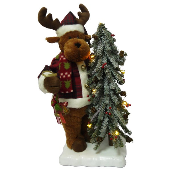 puleo international 22 inch animated musical reindeer with lighted tree on base