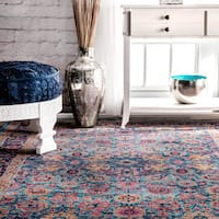 nuLOOM Traditional Lily Floral Blue Rug (4' x 6')