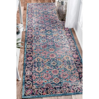 nuLOOM Traditional Lily Floral Blue Runner Rug (2'8 x 8')