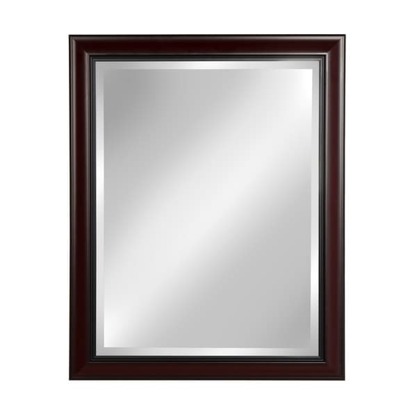Designovation Dalat Cherry Framed Beveled Wall Mirror