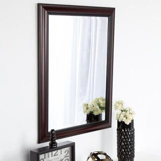 DesignOvation Dalat Cherry Framed Beveled Wall Mirror