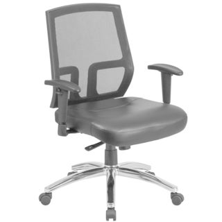 HERCULES Series Big & Tall Mesh Mid-Back Executive Swivel Chair with Leather Seat and Height Adjustable Arms