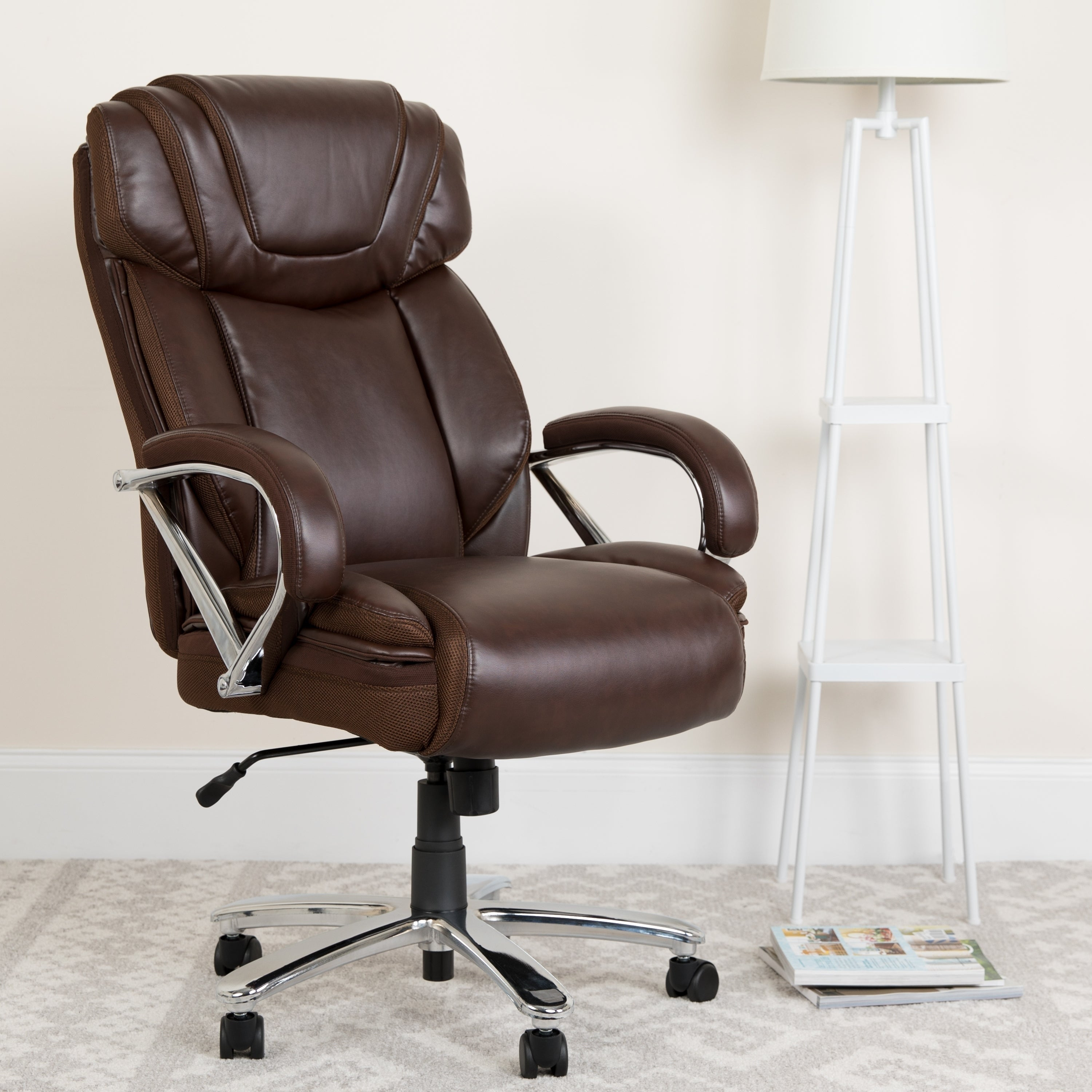 Hercules Series Big Tall 500 Lb Rated Bonded Leather Executive Swivel Chair With Extra Wide Seat