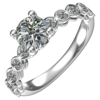Sterling-silver 1-ct Round Center 16 0.39-tcw Side Cubic Zirconia Classic Engagement Ring