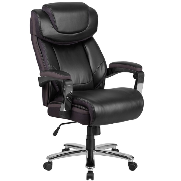 HERCULES Series Big & Tall Leather Executive Swivel Office Chair with Height Adjustable Headrest ...