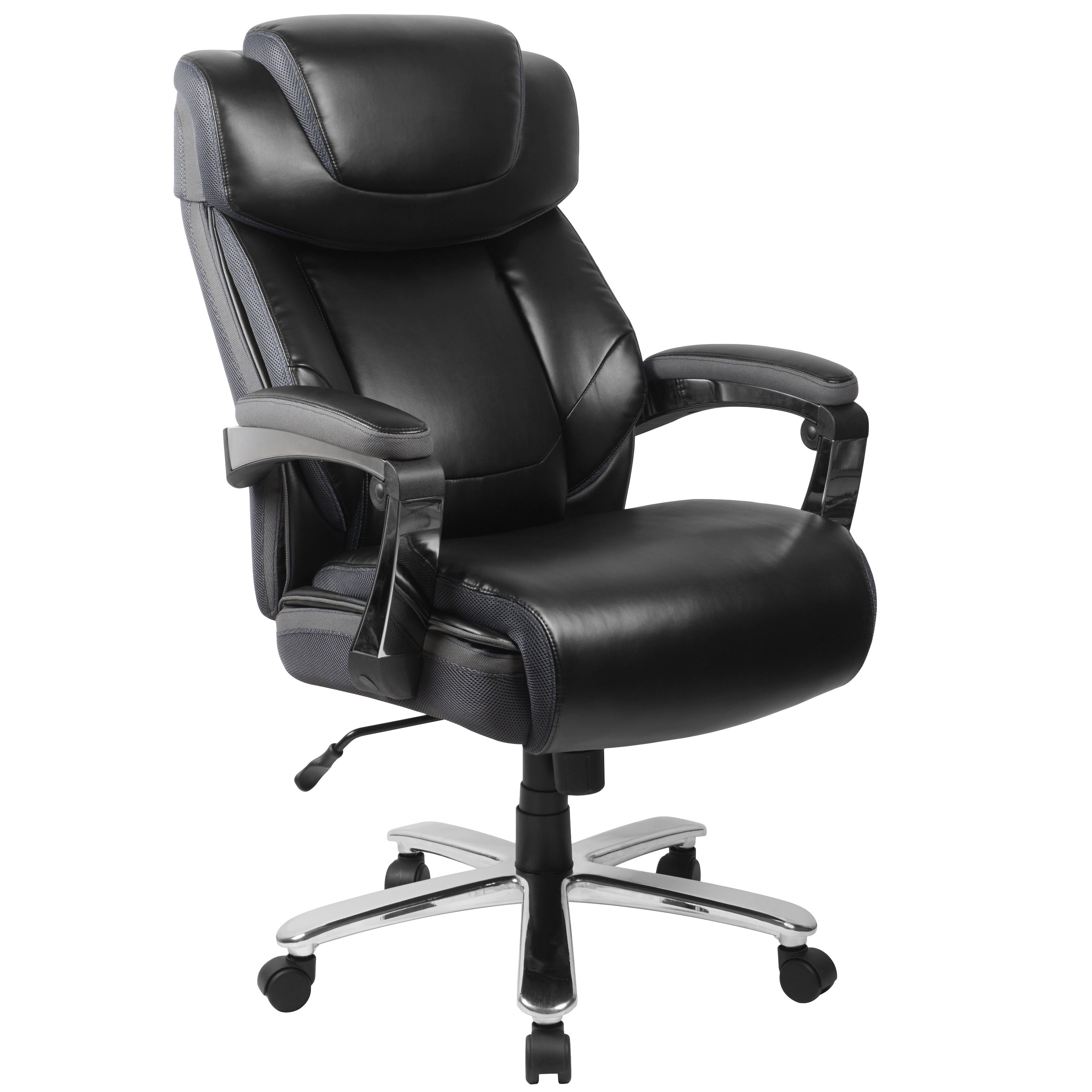 Hercules Series Big Tall Leather Executive Swivel Office Chair With Height Adjustable Headrest