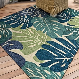 Miami Arum Teal-Navy Indoor/Outdoor Area Rug - 2' x 4'
