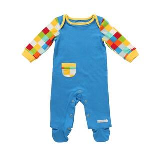 Rockin' Baby Laughin' Contrast Boys' Blue Cotton Pocket Footie