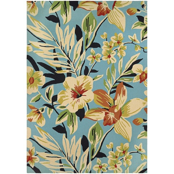Couristan Covington Whimsical Garden Powder Blue/Multicolored Indoor/Outdoor Area Rug - 8' x 11'