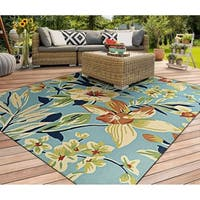 Couristan Covington Whimsical Garden Powder Blue/Multicolored Indoor/Outdoor Area Rug (8' x 11') - 8' x 11'