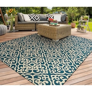 Couristan Covington Maxwell/Ocean/Ivory Polypropylene Indoor/Outdoor Area Rug (8' x 11')