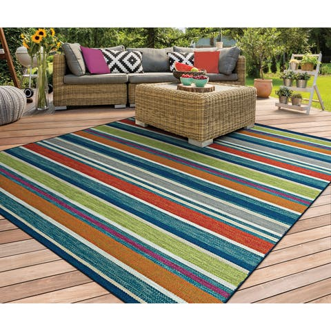 Hand-Woven Villa Stripes Blue-Green-Multi Indoor/Outdoor Area Rug - 2' x 3'