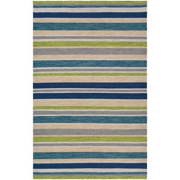 Villa Stripes Teal-Blue-Multi Indoor/Outdoor Area Rug - 8' x 10'