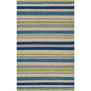 Hand-Woven Villa Stripes Teal-Blue-Multi Indoor/Outdoor Area Rug - 8' x 10'