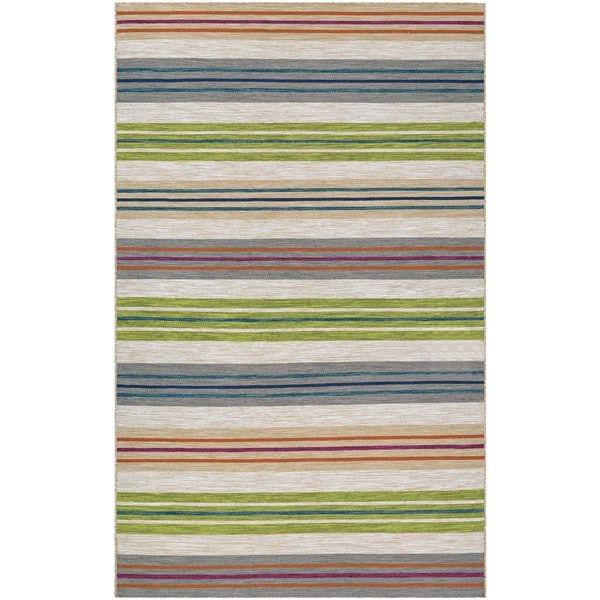 Hand Woven Villa Stripes Beige Multi Indoor Outdoor Area Rug 8 X 10 On Free Shipping Today 14217047