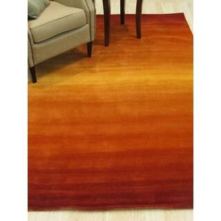 Handmade Wool Orange Transitional Solid Horizon Rug (5' x 8')