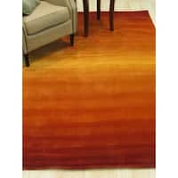 Handmade Wool Orange Transitional Solid Horizon Rug - 5' x 8'