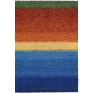 Couristan Oasis Ocean Sunset Blue/Orange Virgin Wool Area Rug (2' x 4')