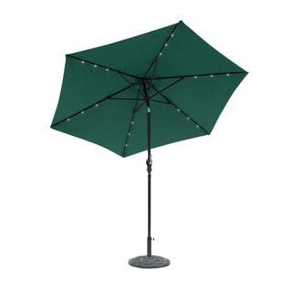 9 Foot Round Solar Lighted Umbrella Hunter Green