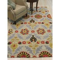 Hand-tufted Wool Ivory Transitional Floral Floral Marcel Rug - 7'9 x 9'9