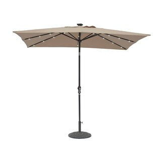 9' x 7' Rectangular Solar Lighted Umbrella Taupe