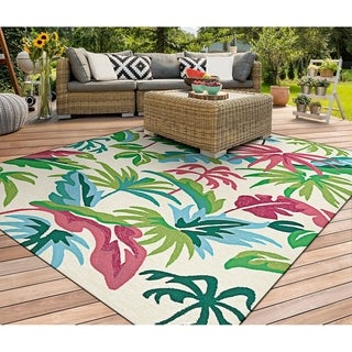"Miami Keyes Ivory-Pink-Multi Indoor/Outdoor Area Rug - 3'6"" x 5'6"""