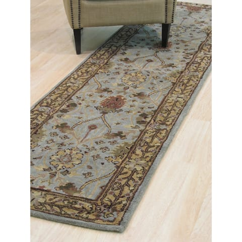"""Hand-tufted Wool Blue Traditional Oriental Morris Rug - 2'6"""" x 10'"""