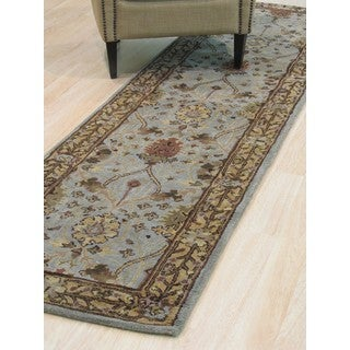 Hand-tufted Wool Blue Traditional Oriental Morris Rug (2'6 x 10')
