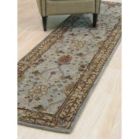 Hand-tufted Wool Blue Traditional Oriental Morris Rug - 2'6 x 10'