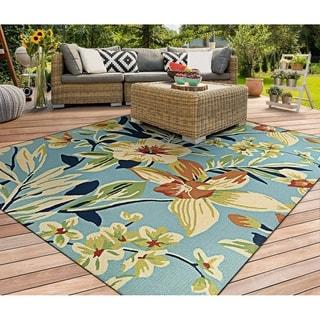 Couristan Covington Whimsical Garden Powder Blue/Multicolor Indoor/Outdoor Area Rug - 3'6 x 5'6