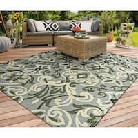 Couristan Covington Amelie/Sage Indoor/Outdoor Area Rug - 5'6 x 8'