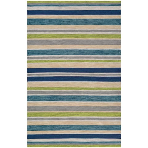 Hand-Woven Villa Stripes Teal-Blue-Multi Indoor/Outdoor Area Rug - 3' x 5'