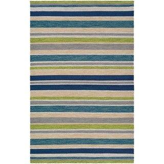 Hand-Woven Villa Stripes Teal-Blue-Multi Indoor/Outdoor Area Rug - 5' x 8'