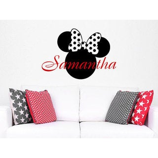 Girl Name Minnie Mouse Personalized Name Nursery Baby Kids Custom Sticker Decal size 33x39 Color Bla