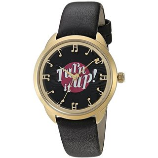 Kate Spade Women's KSW1148 'Crosstown' Turn it Up Black Leather Watch