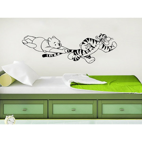 Winnie The Pooh Classic Winnie the Pooh Tigger Nursery Baby Room Kids Bedroom Sticker Decal size 33x45 Color Black