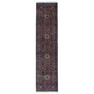 Fine Rug Collection Handmade Bijar Red Wool Oriental Runner (2'10 x 11'8)