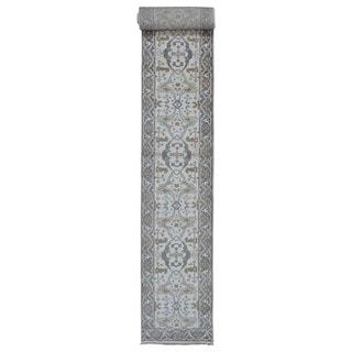 Fine Rug Collection Handmade Oushak Beige Wool Oriental Runner (2'7 x 20'3)