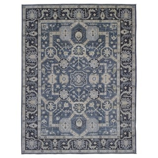 Fine Rug Collection Handmade Fine Peshawar Blue Wool Oriental Rug (9'2 x 11'8)