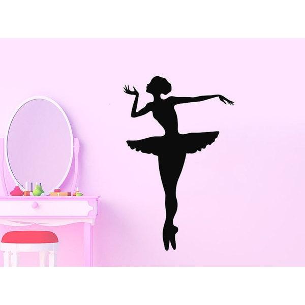Ballerina Ballet Dancer Gymnastics Dance Studio Nursery Decor Bedroom Sticker Decal Size 48x65 Color Black