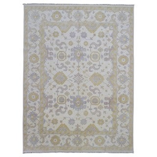 Fine Rug Collection Handmade Oushak Beige Wool Oriental Rug (9' x 11'9)