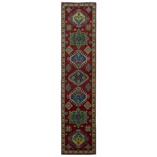 Fine Rug Collection Handmade Kazak Blue Wool Oriental Runner (2'7 x 11'7)